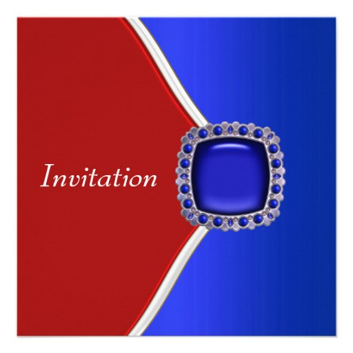 Patriotic Red White and Blue Party Personalized Invitation