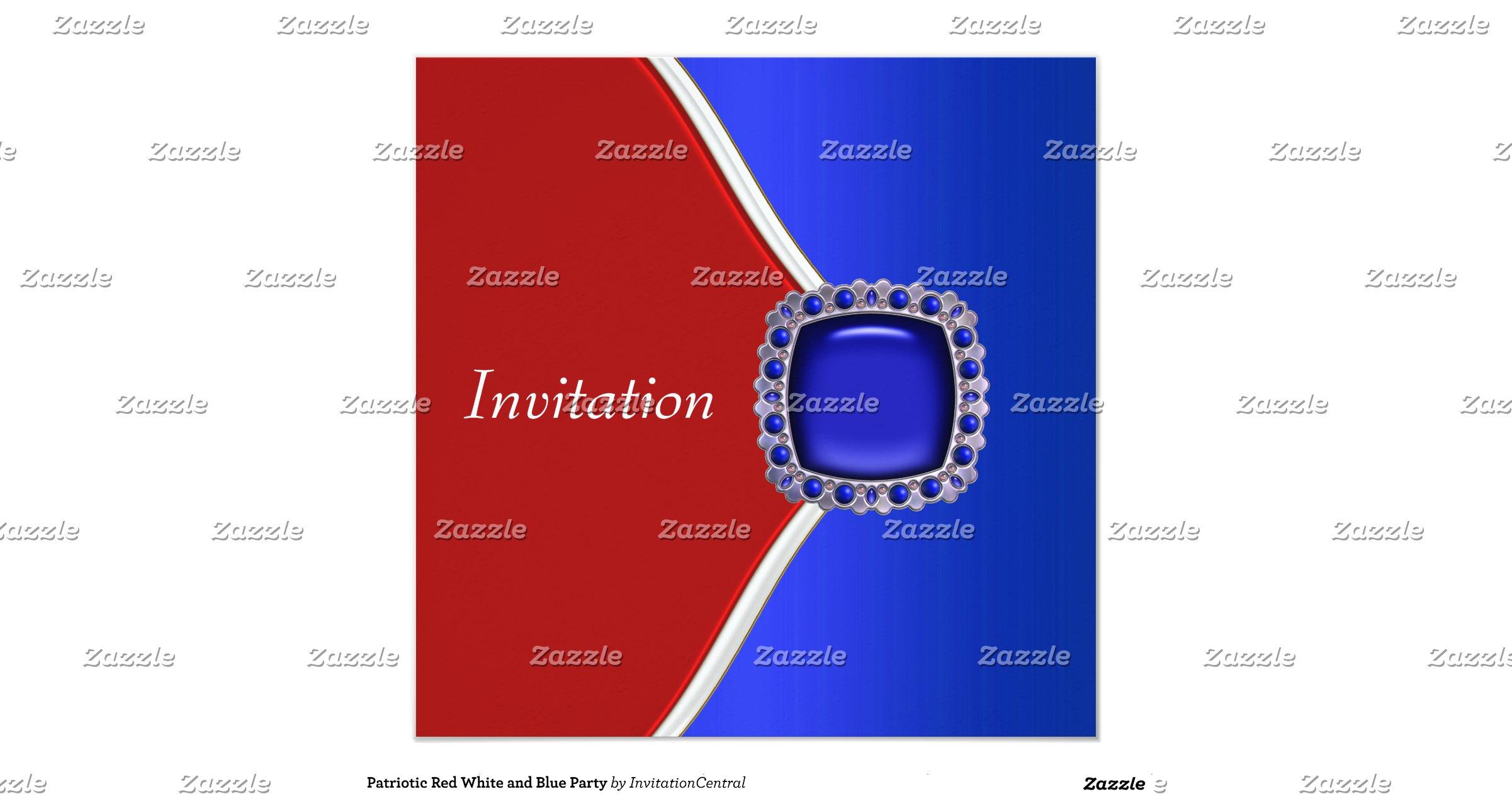 Snap Red White And Blue Invitations Announcements Zazzle.com.au ...