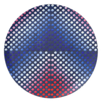 Patriotic, red white and blue pattern dinner plate