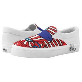 Patriotic Red White and Blue Pattern Printed Shoes