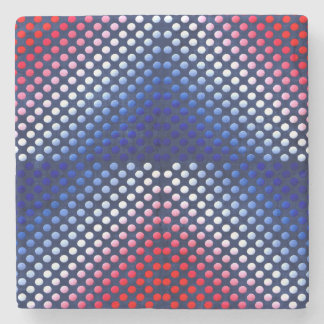 Patriotic, red white and blue pattern stone coaster