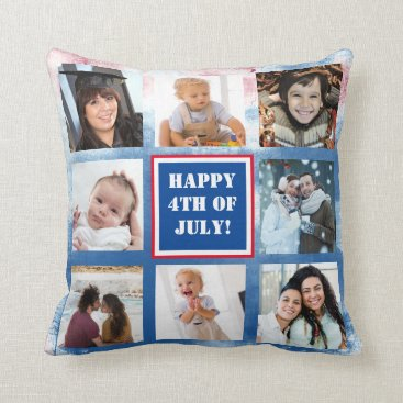 Patriotic Red White and Blue Personalized Photo Throw Pillow