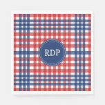 Patriotic Red White and Blue Plaid Custom Paper Napkin