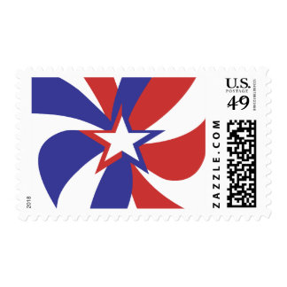 Patriotic Red White and Blue Stamp