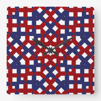 Patriotic Red White and Blue Square Wall Clock