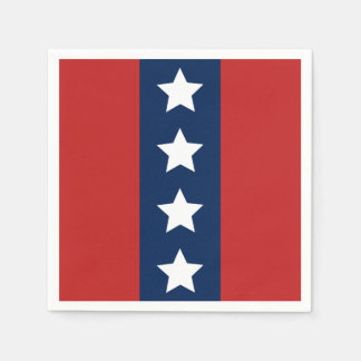 Patriotic Red White and Blue Stars and Stripes Paper Napkin