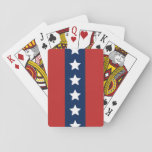 "Patriotic Red White and Blue Stars and Stripes Playing Cards<br><div class=""desc"">Show your patriotism with these playing cards. The red white and blue in traditional patriotic hues give honor to the American flag with a center line of white stars and a central blue stripe surrounded by two red stripes.</div>"
