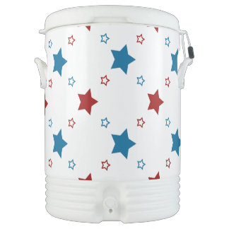 Patriotic Red White and Blue Stars Cooler