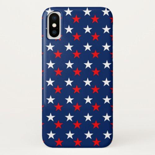 Patriotic Red White and Blue Stars Design Phone Case