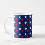 Patriotic Red White and Blue Stars Design Coffee Mug