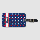 Patriotic Red White and Blue Stars Personalized Bag Tag