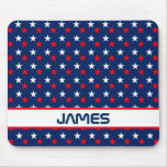 Patriotic Red White and Blue Stars Personalized Mouse Pad