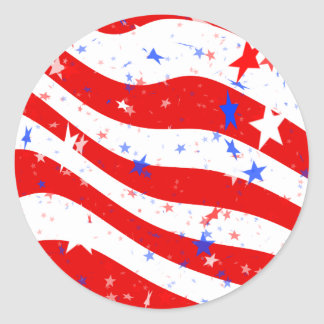 Patriotic Red, White, and Blue Stars & Stripes Classic Round Sticker