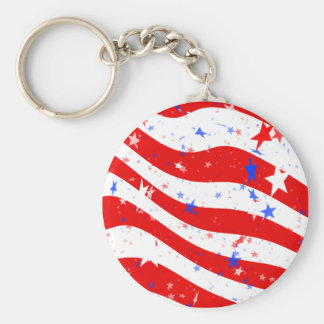 Patriotic Red, White, and Blue Stars & Stripes Keychain