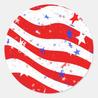 Patriotic Red, White, and Blue Stars & Stripes Round Sticker