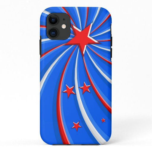 Patriotic Red White and Blue Stars Swirl iPhone 11 Case