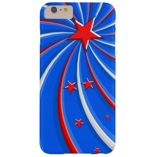 Patriotic Red White and Blue Stars Swirl Barely There iPhone 6 Plus Case