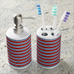 Patriotic Red White and Blue Stripes Bathroom Set