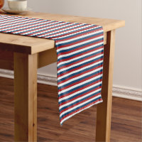 Patriotic Red White and Blue Stripes Short Table Runner