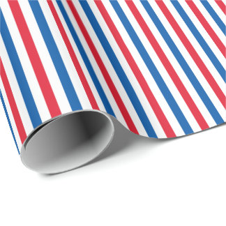 Patriotic Red White and Blue Stripes Wrapping Paper