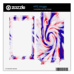 Patriotic red white and blue swirl abstract HTC imagio decal