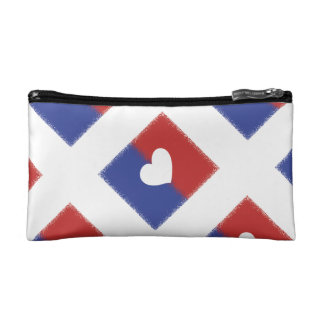 Patriotic Red White And Blue Unity Heart Makeup Bag
