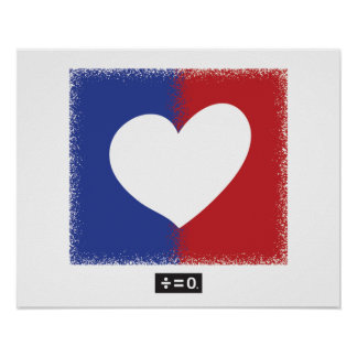Patriotic Red White And Blue Unity Heart Poster
