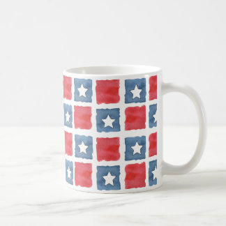 Patriotic Red White and Blue Watercolor Coffee Mug