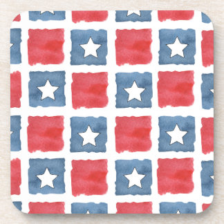 Patriotic Red White and Blue Watercolor Drink Coaster