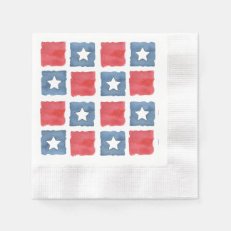 Patriotic Red White and Blue Watercolor Napkin