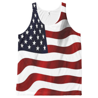 Patriotic Red, White, and Blue Wavy American Flag All-Over Print Tank Top