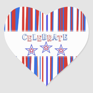 Patriotic Red White Blue 4th of July Heart Sticker
