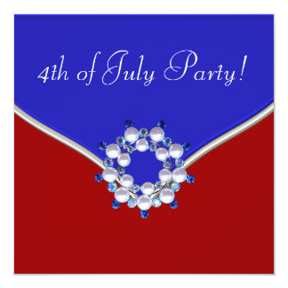 Patriotic Red White Blue 4th of July Party Card
