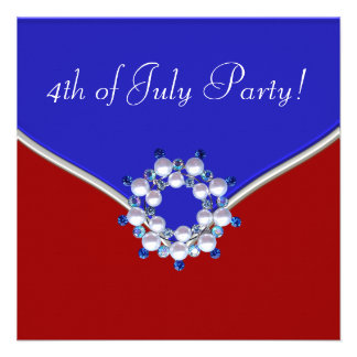 Patriotic Red White Blue 4th of July Party Invite