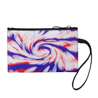 Patriotic red white blue abstract coin wallet