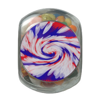 Patriotic red white blue abstract glass jars