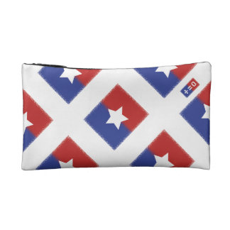 Patriotic Red White Blue American Unity Star Cosmetic Bag