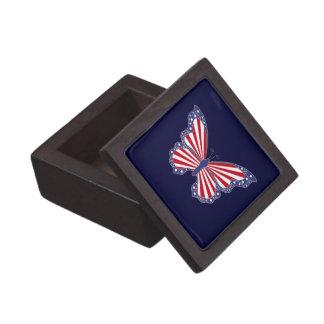 Patriotic Red White & Blue Butterfly Keepsake Box