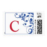 Patriotic Red White Blue C Monogram Stamps