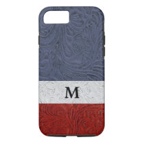 "Patriotic Red White Blue Cowboy ""Leather"" Monogram iPhone 8/7 Case"