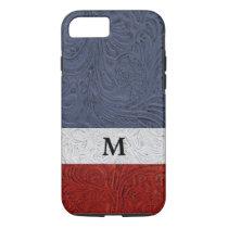 "Patriotic Red White Blue Cowboy ""Leather"" Monogram iPhone 8/7 Case"
