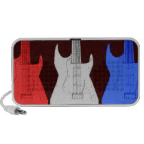 Patriotic Red White Blue Electric Guitars Doodle iPhone Speaker  at Zazzle