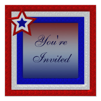 Patriotic Red White & Blue July 4th Party Invites
