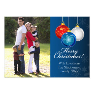 Patriotic Red White Blue Ornaments Christmas Photo Card