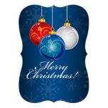 Patriotic Red White Blue Ornaments Merry Christmas Custom Invite