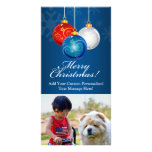 Patriotic Red White Blue Ornaments Merry Christmas Photo Cards