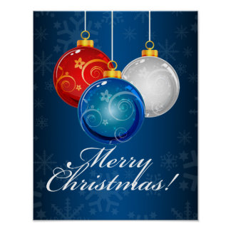 Patriotic Red White Blue Ornaments Merry Christmas Poster