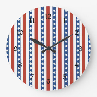 Patriotic Red White Blue Stars and Stripes Freedom Wall Clock