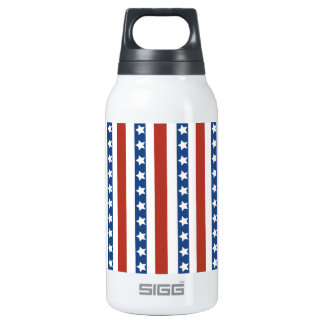 Patriotic Red White Blue Stars and Stripes Freedom Insulated Water Bottle