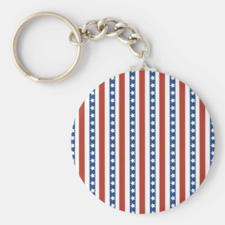 Patriotic Red White Blue Stars and Stripes Freedom Keychain